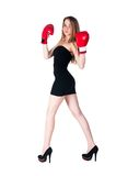 Pretty girl with boxing gloves Royalty Free Stock Photos