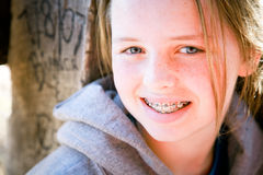 Pretty Girl with Braces. Happy pre-teen girl with braces Royalty Free Stock Image