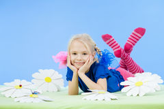 Pretty girl in bright clothing or fancy dress Stock Photos