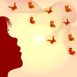 Pretty girl and butterflies. Contour of beautiful girl looking at the butterflies Royalty Free Stock Images