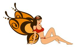 Pretty girl with butterfly wings Stock Image