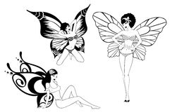 Pretty girl with butterfly wings Royalty Free Stock Images