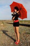 Pretty Girl By Railway Royalty Free Stock Photos