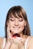 Pretty girl with cake Royalty Free Stock Photo