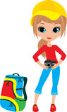 Pretty girl with the camera Stock Photos