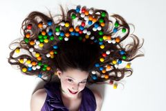 Pretty Girl with Candy Makeup Stock Images