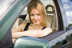 Pretty girl in the car Royalty Free Stock Images