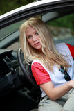 Pretty girl in car Royalty Free Stock Images