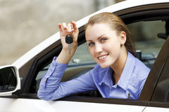 Pretty girl in a car Stock Image