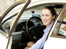 Pretty girl in a car Stock Photo