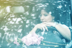 Pretty girl in a car Royalty Free Stock Image
