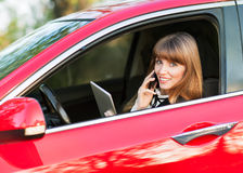 Pretty girl in a car Royalty Free Stock Photos