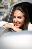 Pretty girl in a car Royalty Free Stock Images