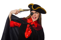Pretty girl in carnival clothing  with hand gun Stock Photos