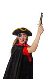 Pretty girl in carnival clothing with hand gun Stock Image
