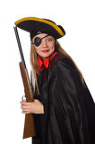 Pretty girl in carnival clothing  with hand gun Stock Images