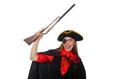 Pretty girl in carnival clothing  with hand gun Stock Photo