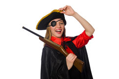 Pretty girl in carnival clothing  with hand gun Royalty Free Stock Images