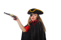 Pretty girl in carnival clothing with hand gun Royalty Free Stock Photo
