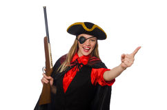 Pretty girl in carnival clothing  with hand gun Stock Photography
