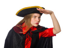 Pretty girl in carnival clothing isolated on white Stock Photography