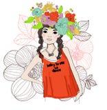 Pretty girl. A pretty girl ,cartoon art Royalty Free Stock Photos