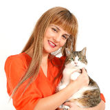 Pretty girl with a cat. Royalty Free Stock Photos