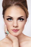 Pretty girl with cat eyes Royalty Free Stock Image