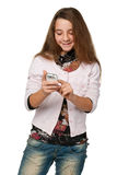 Pretty girl with a cell phone Royalty Free Stock Images
