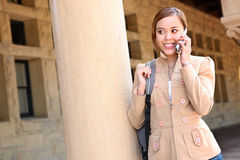 Pretty Girl on Cell Phone School Royalty Free Stock Photo
