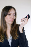 Pretty girl and cellphone Royalty Free Stock Photo