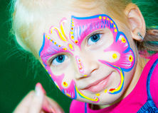 Pretty Girl Child with face painting. Make up. Pretty Girl Child with face painting. Make up royalty free stock photo