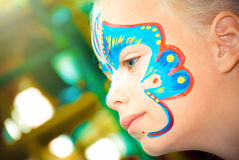 Pretty Girl Child with face painting. Make up. Royalty Free Stock Photos