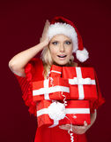 Pretty girl in Christmas cap Royalty Free Stock Images