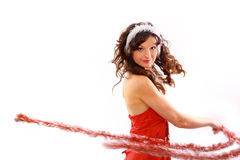 Pretty girl with Christmas decoration Stock Photo