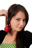 Pretty girl with Christmas decoration Stock Photography