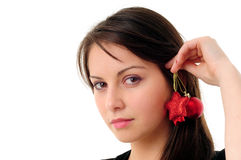 Pretty girl with Christmas decoration Stock Photos
