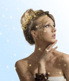 Pretty girl with christmas decoration on face Stock Image