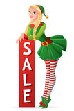 Pretty girl in Christmas elf costume sale banner. Vector illustration. Pretty blond girl in green Christmas elf costume standing with vertical sale banner Royalty Free Stock Photography