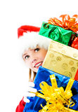 Pretty girl with the christmas presents Royalty Free Stock Photo
