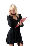 Pretty girl with clipboard Stock Images