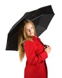 Pretty  girl in cloak with umbrella Royalty Free Stock Photos