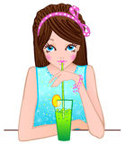 Pretty girl with cocktail. Brunette girl with cocktail. Vector illustration Stock Photos