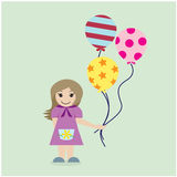 Pretty girl with colorful balloons on background. Royalty Free Stock Photos