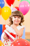 Pretty girl  with colorful balloons and gift Royalty Free Stock Image