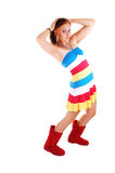 Pretty girl in colorful dress. Stock Photos