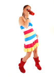 Pretty girl in colorful dress. Royalty Free Stock Photo