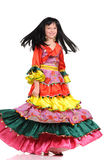 Pretty girl with in the colorful dress Stock Photography