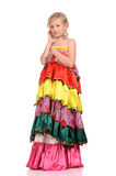 Pretty girl with in the colorful dress Stock Images