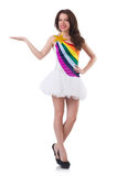 Pretty girl in colorful dress isolated on white Royalty Free Stock Photography